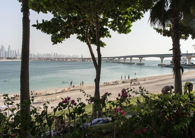 Utsikt över Dubais Skyline från The Palm